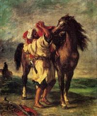 Араб, седлающий свою лошадь (Э. Делакруа)