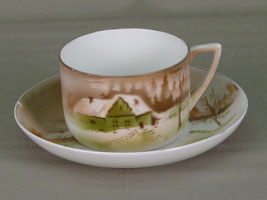 Чайная пара, фарфор, деколь. 1920-1930-е г. (Дулево)