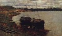 Баржи. Волга. 1889