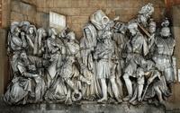 Встреча Давида, победившего Голиафа (горельеф)