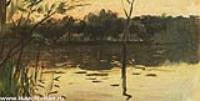 Пейзаж с розовым закатом. Конец 1880-х