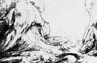 Ущелье в Преттигау (В. Хубер, перо, акварель, 1552 г.)