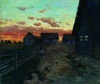 Избы. После захода солнца. 1899
