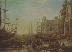 """Клод Лоррен. """"Сцена в порту с видом виллы Медичи"""""""