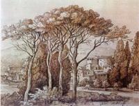 Пейзаж с пиниями (Ф.М. Матвеев, сепия, тушь, французский карандаш)
