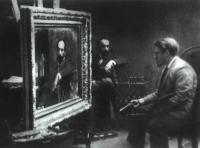 Серов пишет портрет Левитана. 1892
