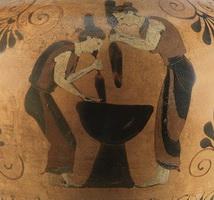 Мойры (деталь росписи амфоры 6 в. д.н.э.)