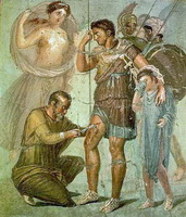 Япиг удаляет наконечник стрелы из ноги Энея