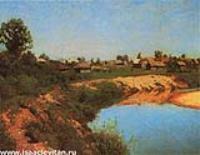Деревня на берегу реки. 1883